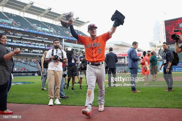 Alex Bregman of the Houston Astros celebrates defeating the Cleveland Indians 113 in Game Three of the American League Division Series to advance to...