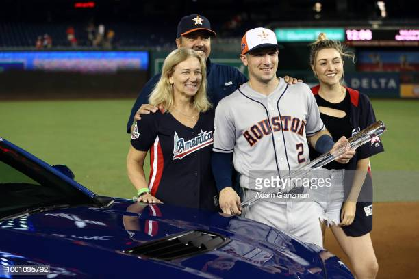 Alex Bregman of the Houston Astros celebrates with his family after winning the Ted Williams Most Valuable Player Award during the 89th MLB AllStar...