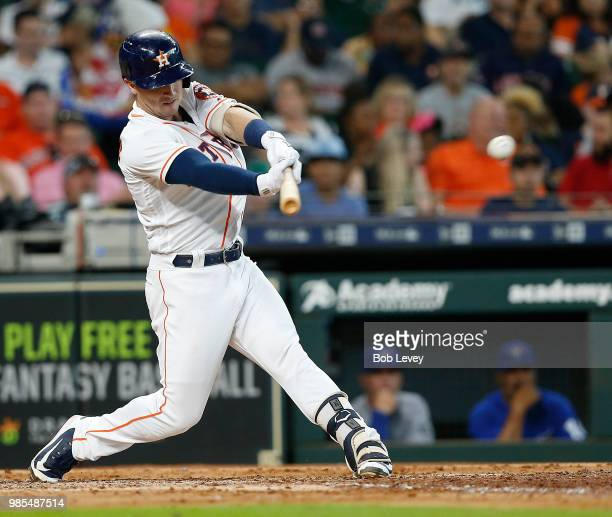 Alex Bregman of the Houston Astros doubles in the fifth inning against the Toronto Blue Jays at Minute Maid Park on June 27 2018 in Houston Texas