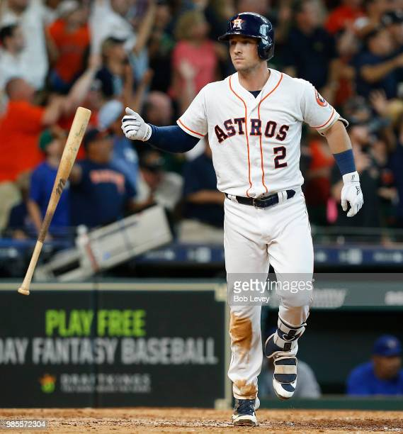 Alex Bregman of the Houston Astros flips his bat after hitting a walkoff tworun home run in the ninth inning to give the Houston Astros a 76 win over...