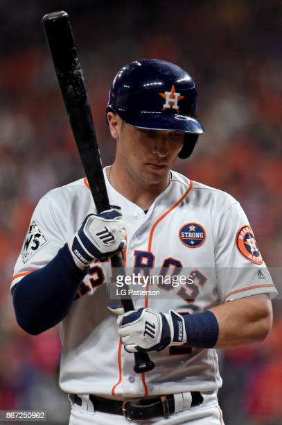 Alex Bregman of the Houston Astros gets ready to hit during Game 3 of the 2017 World Series against the Los Angeles Dodgers at Minute Maid Park on...