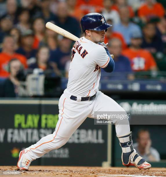 Alex Bregman of the Houston Astros grounds into a double play in the first inning Los Angeles Angels of Anaheim at Minute Maid Park on August 30 2018...
