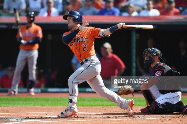 Alex Bregman of the Houston Astros hits a double in the first inning against the Cleveland Indians during Game Three of the American League Division...