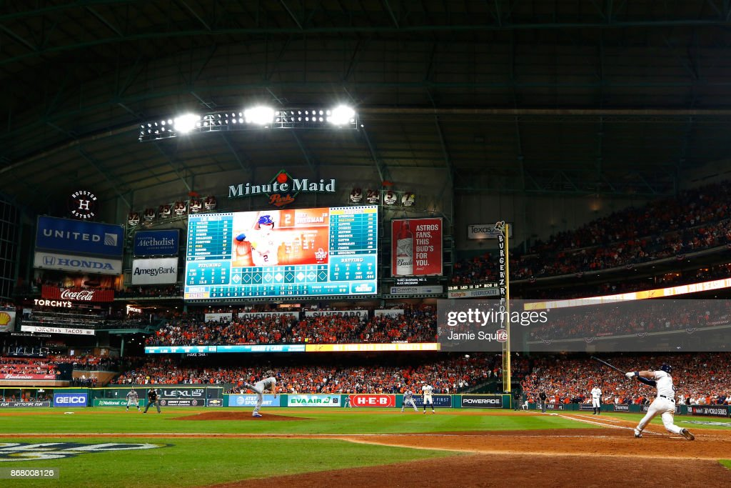 Alex Bregman #2 of the Houston Astros hits a game-winning single during the tenth inning against the Los Angeles Dodgers in game five of the 2017 World Series at Minute Maid Park on October 30, 2017 in Houston, Texas.