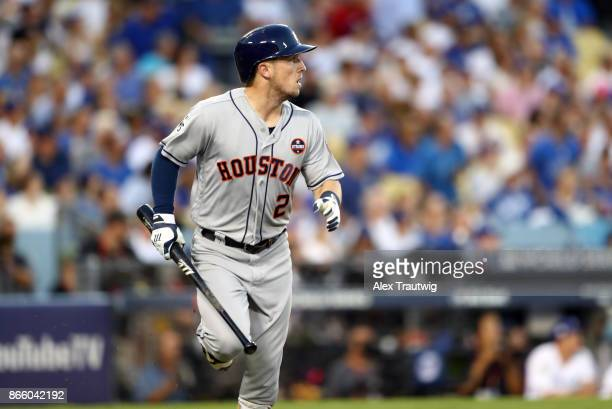 Alex Bregman of the Houston Astros hits a solo home run in the fourth inning of Game 1 of the 2017 World Series against the Los Angeles Dodgers at...