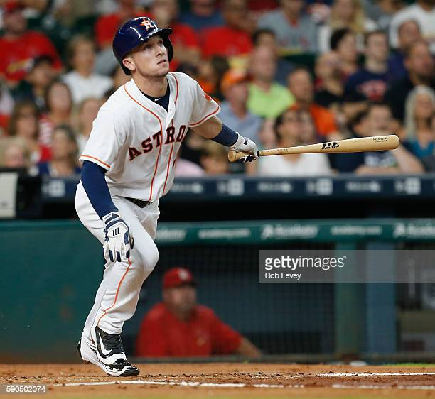 Alex Bregman of the Houston Astros hits a tworun home run in the first inning against the St Louis Cardinals at Minute Maid Park on August 16 2016 in...