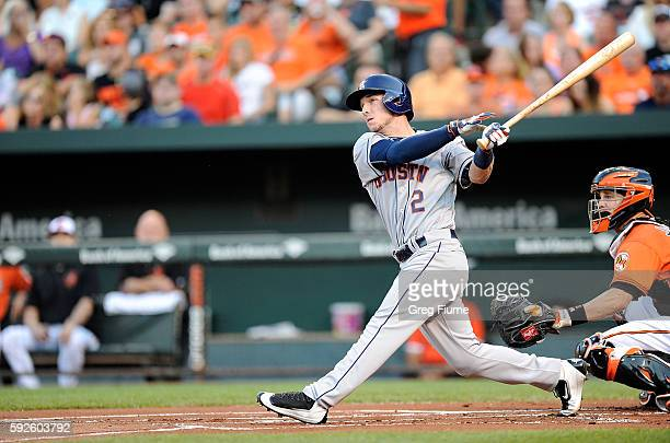 Alex Bregman of the Houston Astros hits a tworun home run in the first inning against the Baltimore Orioles at Oriole Park at Camden Yards on August...