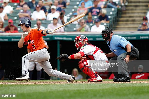 Alex Bregman of the Houston Astros hits an RBI single against the Cleveland Indians in the fifth inning at Progressive Field on September 8 2016 in...