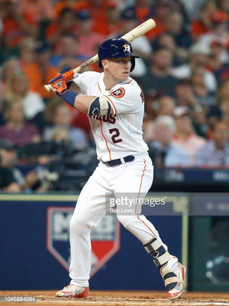 Alex Bregman of the Houston Astros in action against the Cleveland Indians during Game One of the American League Division Series at Minute Maid Park...