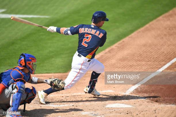 Alex Bregman of the Houston Astros in action during the spring training game against the New York Mets at The Ballpark of the Palm Beaches on March 4...