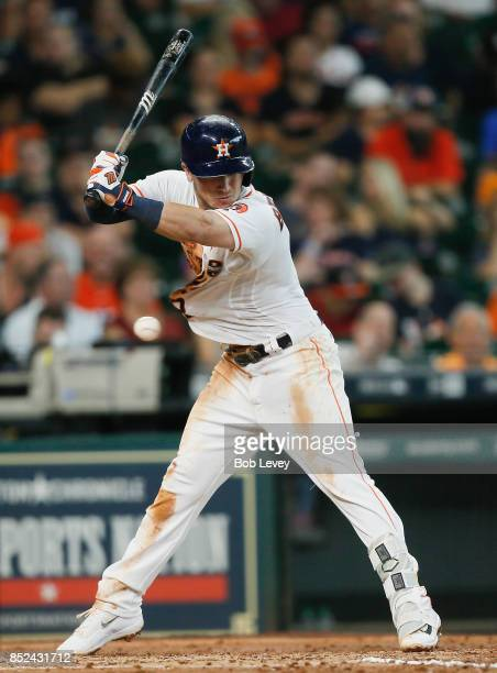 Alex Bregman of the Houston Astros is hit by a pitch in the fifth inning against the Los Angeles Angels of Anaheim at Minute Maid Park on September...