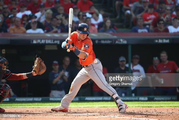 Alex Bregman of the Houston Astros is hit by a pitch in the third inning against the Cleveland Indians during Game Three of the American League...
