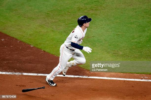 Alex Bregman of the Houston Astros jogs to first base during Game 5 of the 2017 World Series against the Los Angeles Dodgers at Minute Maid Park on...