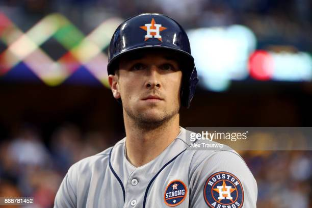 Alex Bregman of the Houston Astros looks on from the dugout during Game 6 of the 2017 World Series against the Los Angeles Dodgers at Dodger Stadium...