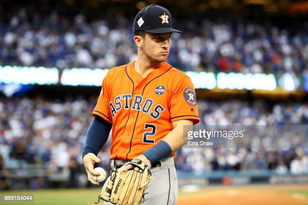 Alex Bregman of the Houston Astros looks on prior to game seven of the 2017 World Series against the Los Angeles Dodgers at Dodger Stadium on...