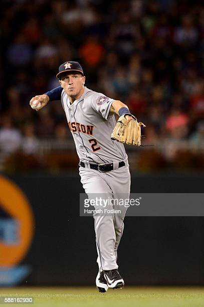 Alex Bregman of the Houston Astros makes a play at third base against the Minnesota Twins during the game on August 8 2016 at Target Field in...