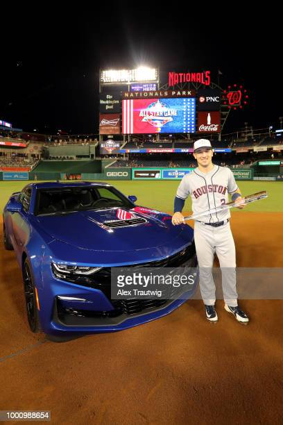 Alex Bregman of the Houston Astros poses for a photo the Ted Williams Most Valuable Player Award of the 89th MLB AllStar Game at Nationals Park on...