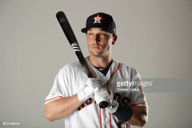Alex Bregman of the Houston Astros poses for a portrait at The Ballpark of the Palm Beaches on February 21 2018 in West Palm Beach Florida