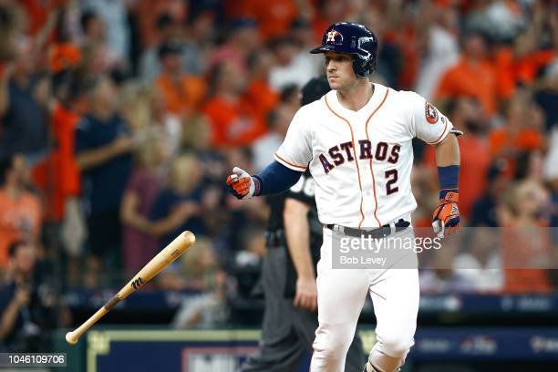 Alex Bregman of the Houston Astros reacts after hitting a solo home run in the fourth inning against the Cleveland Indians during Game One of the...
