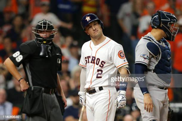 Alex Bregman of the Houston Astros reacts after striking out during the fifth inning against the New York Yankees in game two of the American League...