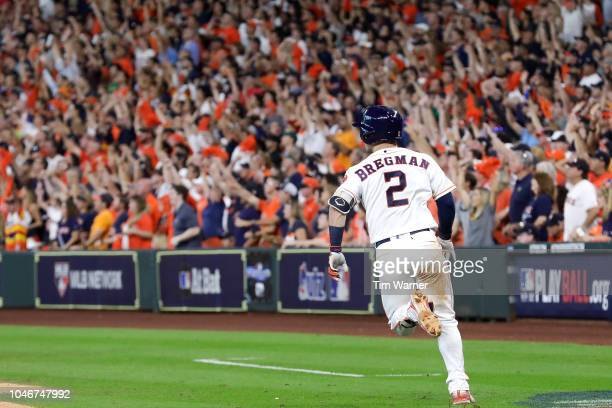 Alex Bregman of the Houston Astros rounds the bases after hitting a solo home run against the Cleveland Indians in the seventh inning of Game Two of...