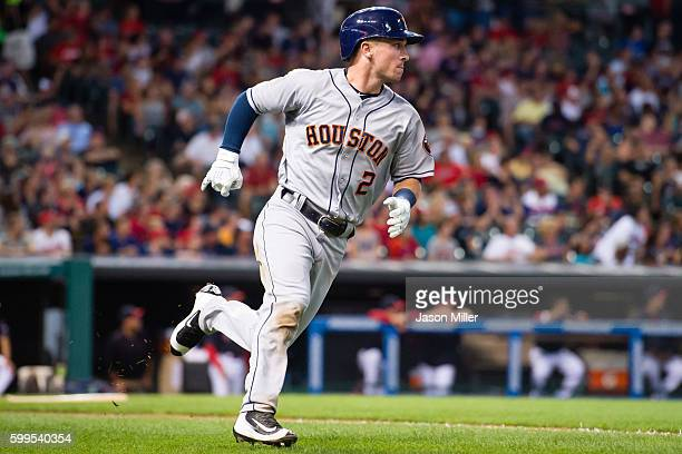 Alex Bregman of the Houston Astros rounds the bases on a two run home run during the third inning against the Cleveland Indians at Progressive Field...