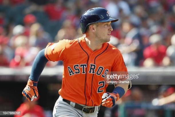 Alex Bregman of the Houston Astros runs after hitting a double in the first inning against the Cleveland Indians during Game Three of the American...