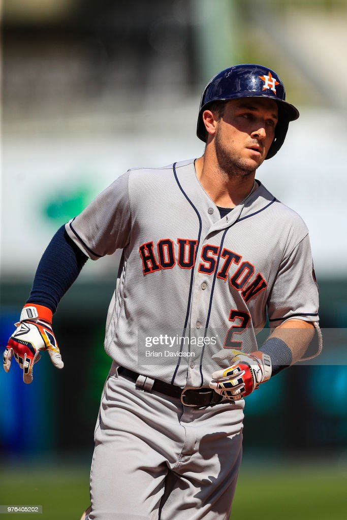 Alex Bregman #2 of the Houston Astros runs the bases after hitting a three run home run against the Kansas City Royals during the ninth inning at Kauffman Stadium on June 16, 2018 in Kansas City, Missouri.