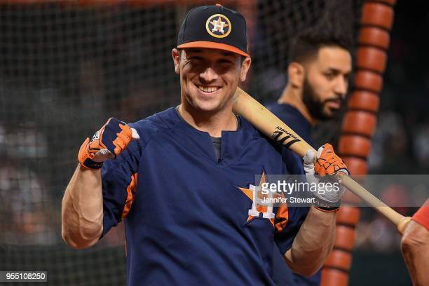 Alex Bregman of the Houston Astros smiles during batting prior to the MLB game against the Arizona Diamondbacks at Chase Field on May 5 2018 in...