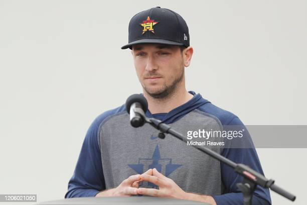 Alex Bregman of the Houston Astros speaks during a press conference at FITTEAM Ballpark of The Palm Beaches on February 13 2020 in West Palm Beach...
