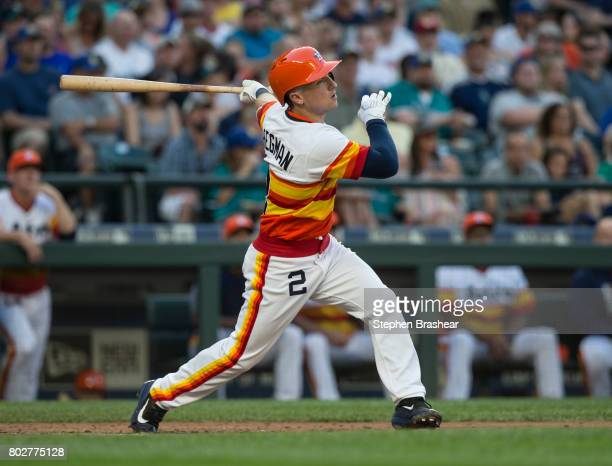 Alex Bregman of the Houston Astros takes a swing during an atbat in a game against the Seattle Mariners at Safeco Field on June 24 2017 in Seattle...