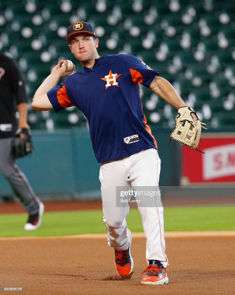 Alex Bregman #2 of the Houston Astros takes infield before playing the Arizona Diamondbacks at Minute Maid Park on August 16, 2017 in Houston, Texas.