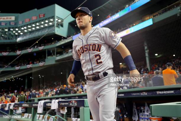 Alex Bregman of the Houston Astros takes the field prior to Game 2 of the ALCS against the Boston Red Sox at Fenway Park on Sunday October 14 2018 in...