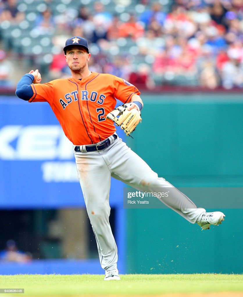 Alex Bregman #2 of the Houston Astros throws at Globe Life Park in Arlington on April 1, 2018 in Arlington, Texas.