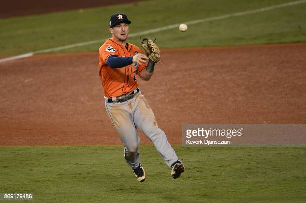 Alex Bregman of the Houston Astros throws the ball during the fourth inning against the Los Angeles Dodgers in game seven of the 2017 World Series at...