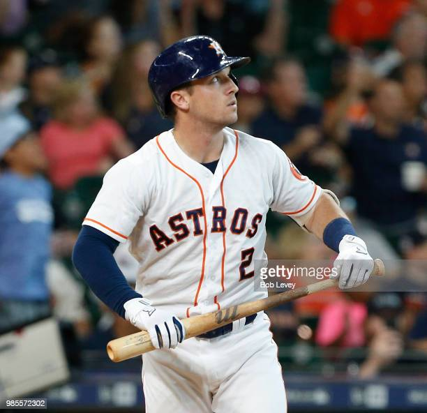 Alex Bregman of the Houston Astros watches his walkoff tworun home run leave the park in the ninth inning to give the Houston Astros a 76 win over...