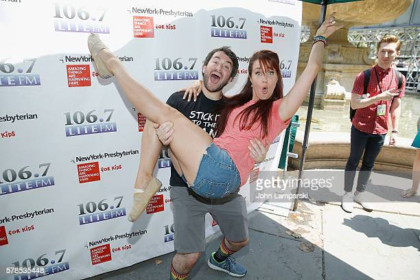 Alex Brightman and Sierra Boggess attend the 1067 LITE FM's Broadway in Bryant Park 2016 at Bryant Park on July 21 2016 in New York City