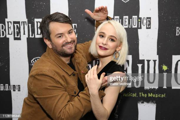 Alex Brightman and Sophia Anne Caruso attend Broadway's 'Beetlejuice' First Look Photocall at Subculture on February 28 2019 in New York City