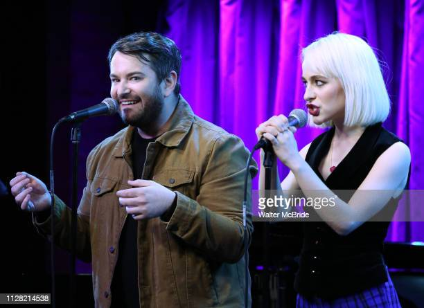 Alex Brightman and Sophia Anne Caruso during Broadway's 'Beetlejuice' First Look Presentation at Subculture on February 28 2019 in New York City
