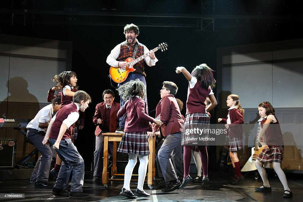 Alex Brightman and The Kid Band perfomr during a press preview performance of 'School of Rock - The Musical' at The Gramercy Theatre on June 11, 2015 in New York City.