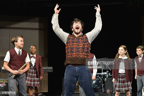 "Alex Brightman and The Kid Band perform during a press preview performance of ""School of Rock - The Musical"" at Gramercy Theatre on June 11, 2015 in..."