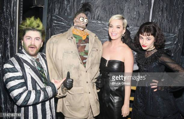 Alex Brightman as Beetlejuice Shrunken Head Guy Katy Perry and Sophia Anne Caruso as Lydia pose backstage at the hit musical based on the film...