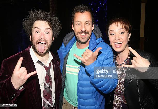Alex Brightman as Dewey Adam Sandler and Sierra Boggess as Rosalie pose backstage at the hit musical School of Rock on Broadway at The Winter Garden...
