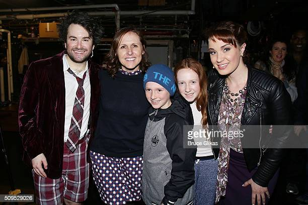 Alex Brightman Molly Shannon Nolan Chesnut Stella Chesnut and Sierra Boggess pose backstage at the hit musical School of Rock on Broadway at The...