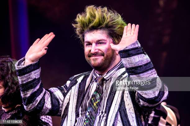 Alex Brightman performs onstage as 'Beetlejuice' during 'Beetlejuice' broadway opening night at Winter Garden Theatre on April 25 2019 in New York...