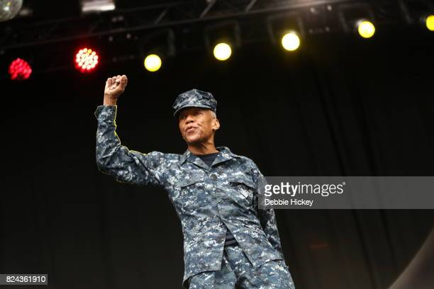 Alex Briley of Disco group the Village People performs on stage during Punchestown Music Festival at Punchestown Racecourse on July 29 2017 in Naas...