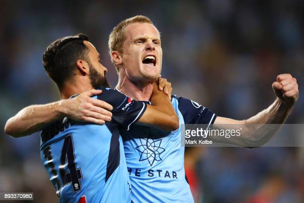 Alex Brosque and Matt Simon of Sydney FC celebrate Brosque scoring a goal during the round 11 ALeague match between Sydney FC and Melbourne City FC...