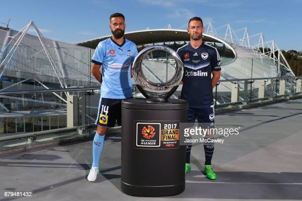 Alex Brosque captain of Sydney and Carl Valeri captain of the Victory pose for the media during an ALeague Grand Final media opportunity at Sydney...