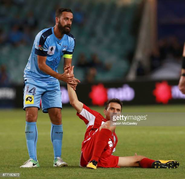 Alex Brosque of Sydney and Isaias of Adelaide look on during the FFA Cup Final match between Sydney FC and Adelaide United at Allianz Stadium on...