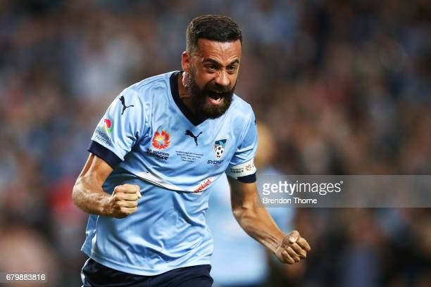 Alex Brosque of Sydney celebrates after team mate Rhyan Grant scores a goal during the 2017 A-League Grand Final match between Sydney FC and the...